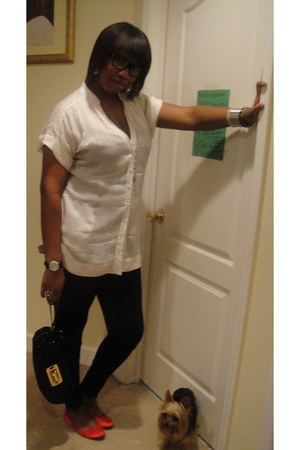 navy Bebe jeans - black clutch Marciano bag - ruby red ballet flats H&M flats -