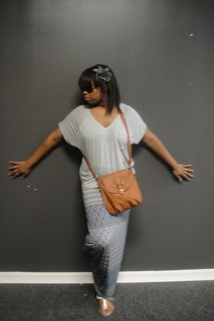 silver Guess shirt - brown Aldo purse - blue maxi DIY skirt