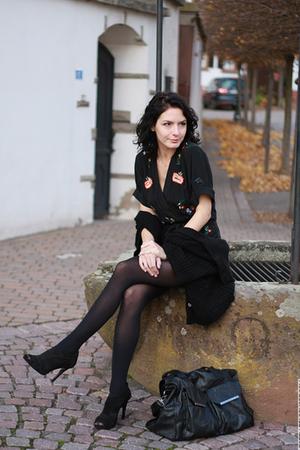 black Jumpsuit French Connection suit - black Stradivarius sandals shoes - black