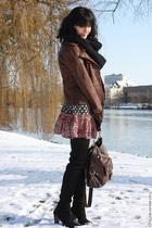 pink H&M dress - brown Promod jacket - brown asos wallet