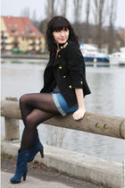 black no brand jacket - blue H&M shorts - blue Minelli boots