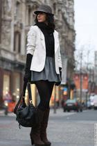 silver asos skirt - gray H&M hat - beige H&M blazer