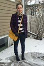 Blue-plaid-target-blazer-mustard-bag