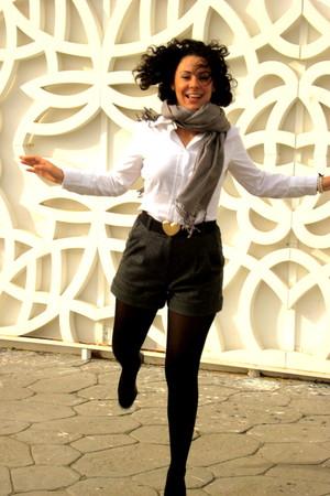 white Mango blouse - gray Mango shorts - gold Zara belt - black Calzedonia acces