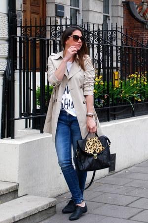 beige benetton coat - black Topshop shoes - blue Alcott jeans