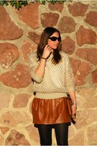 brown Zara skirt - beige bdba sweater - dark brown Zara bag