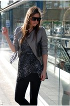 heather gray Pimkie jacket - black Stradivarius dress - dark gray Zara bag