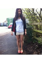 light blue Debenhams wedges - hollister cardigan