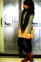 chiffon American Apparel skirt - asos boots - gingham BDG shirt