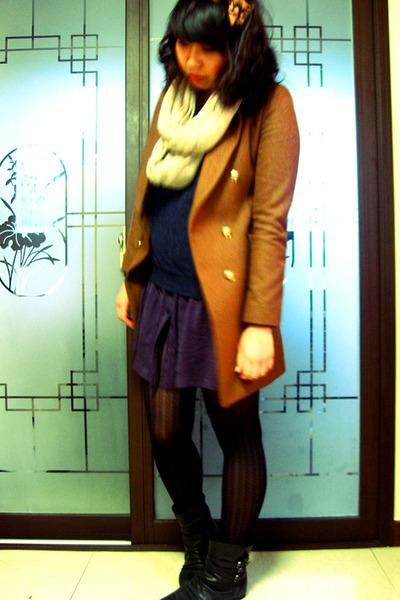 bronze Korean boutique coat - black Aldo boots - puce Public Beware dress