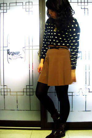 camel Forever 21 skirt - maroon asos boots - navy sweater - black Express tights