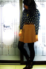 Maroon-asos-boots-navy-sweater-black-express-tights-camel-forever-21-skirt