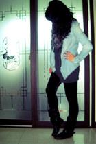 denim shirt - boots - oversized sweater - velvet leggings - herringbone scarf