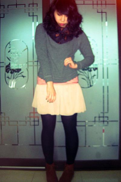tan chiffon American Apparel skirt - brown asos boots
