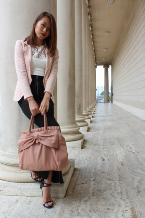 white lace Zara top - pink blazer - pink ribbon Miu Miu bag