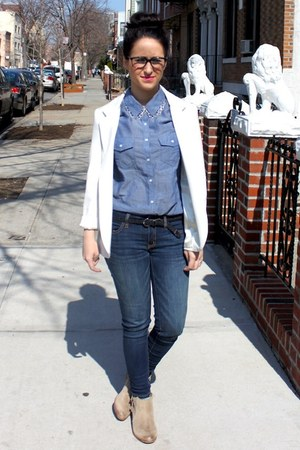 sky blue Forever 21 shirt - neutral Matisse boots - navy American Eagle jeans