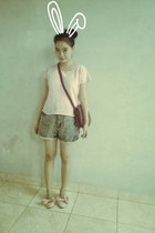 pink Forever 21 shirt - blue Zara shorts - light pink H&M loafers