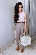 white balenciaga bag - harem pants unknown brand pants - leather aigner belt - c