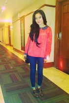 hot pink chiffon MiuMiu shirt - navy denim Zara jeans