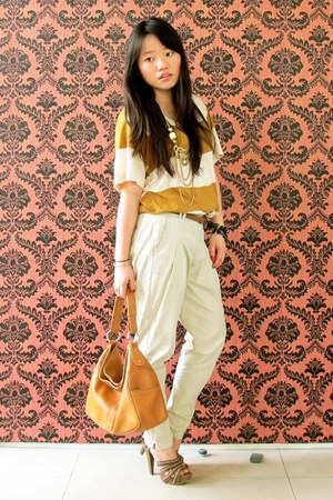 leather TODs bag - warehouse top - warehouse pants - tan leather Charles and Kei