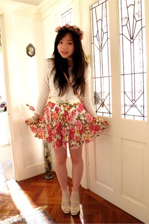 floral pleated asos skirt - wreath handmade accessories - lace vintage cardigan