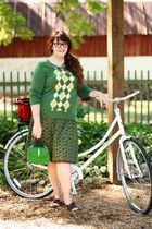 green Target sweater - brown modcloth shoes - green thrift skirt