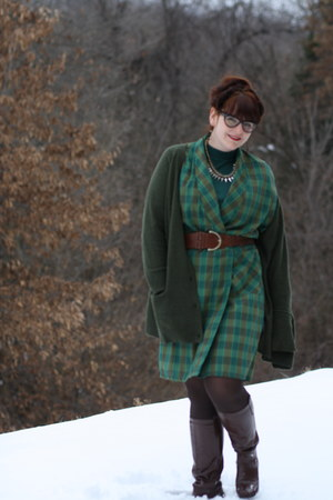 H&M cardigan - Shoedazzle boots - thrifted vintage dress
