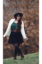 vintage sweater - modcloth boots - Stetson hat - Topshop skirt