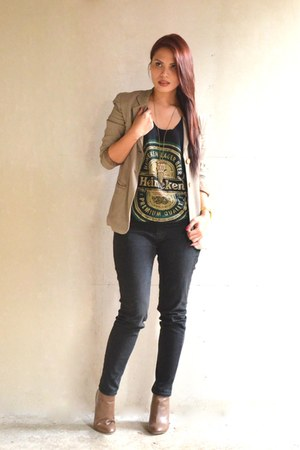 camel Mango blazer - black Jag jeans