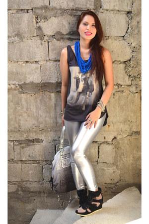 silver metallic Fashion Monger tights - silver studded coach bag