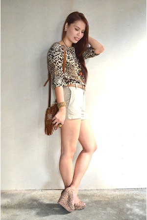 camel Mudd shorts - light brown leopard print i Candy blouse