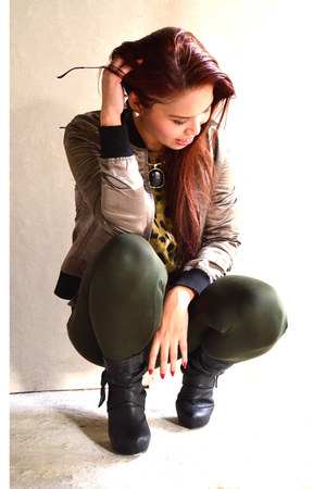 black navawear boots - dark khaki bomber Zara jacket