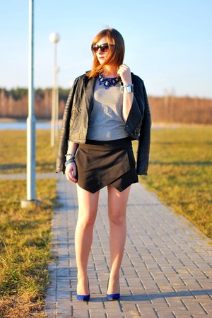 Zara heels - next jacket - Zara skirt - Bershka t-shirt