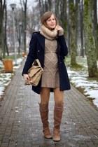 navy H&M coat - bronze reserved bag - brown Zara belt