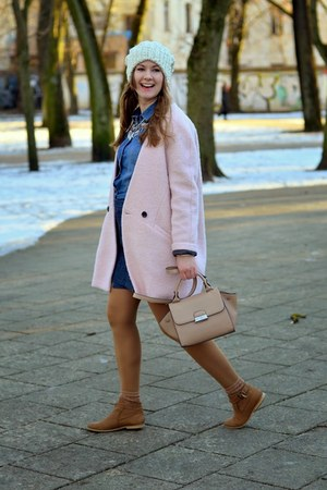 bronze reserved boots - light pink reserved coat - blue reserved shirt