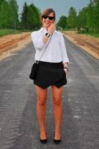 black DIY bag - white SH shirt - black next heels - black Zara skirt
