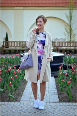 beige H&M coat - heather gray Deichmann bag - white nike sneakers