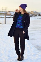 blue PERSUNMALL sweater - black reserved boots - navy H&M coat