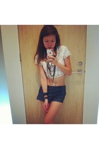 denim Forever 21 shorts - studded Topshop t-shirt - chains Chanel accessories