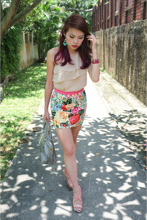 leather Prada bag - floral Forever21 skirt - neon piping Aldo sandals