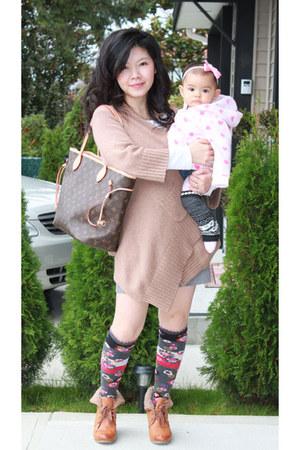 no name leggings - bronze H&M boots - tan wrap sweater Gap sweater