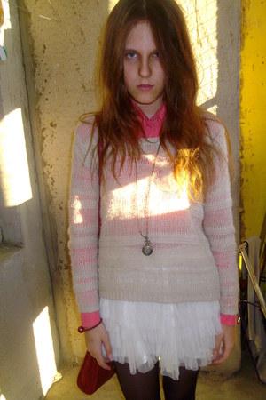 coral collar Stradivarius shirt - white lindex sweater - white hm skirt