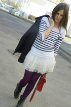 white Takko blouse - black Hm boots - white Hm shirt - deep purple Hm tights