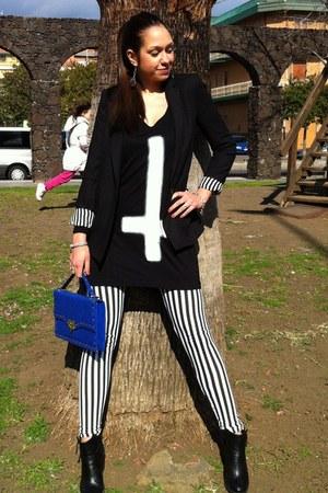 black H&M boots - black Zara blazer - black Alcott t-shirt