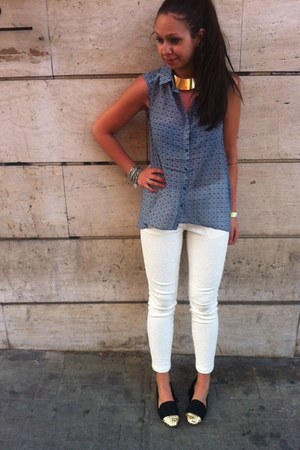H&M blouse - Bershka loafers - H&M pants - Bershka necklace