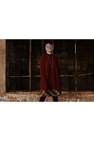 black black vagabond boots - black black NN hat - ruby red burgundy c&a sweater