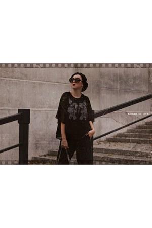 black black NN hat - black black zaful bag - black black c&a sunglasses