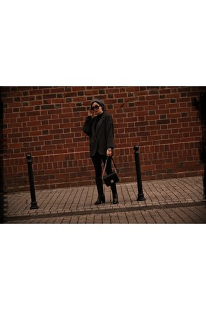 black leather Schaffa boots - gray grey NN hat