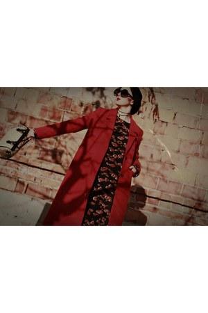 red wool Schaffa coat - black socks boots Mango boots