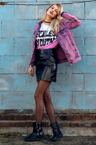 vanharen boots - River Island jacket - new look skirt - Cederwood t-shirt